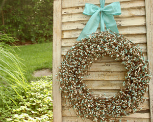 Teal and Cream Pip Berry Wreath with Bow