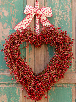 Berry Valentine Heart Wreath