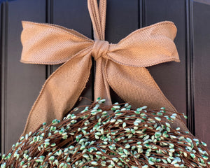 Teal Pip Berry Wreath with Bow
