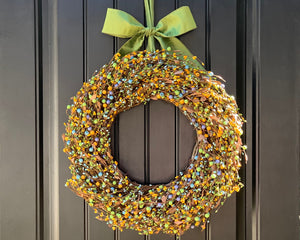 Green Yellow & Light Blue Berry Wreath with Leaves with Bow