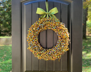 Green Yellow & Light Blue Berry Wreath with Leaves