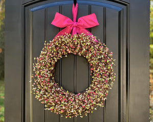 Pink and Green Berry Wreath with Bow