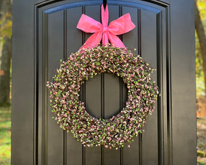 Easter Wreath - Spring Wreath - Pink Green Wreath