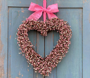 Pip Berry Heart Wreath - Red Pip Berry Heart - Valentine Decor