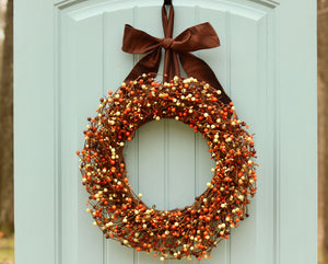 Fall Berry Wreath - Fall Wreath - Autumn Door Wreath - Orange & Brown Berry Wreath