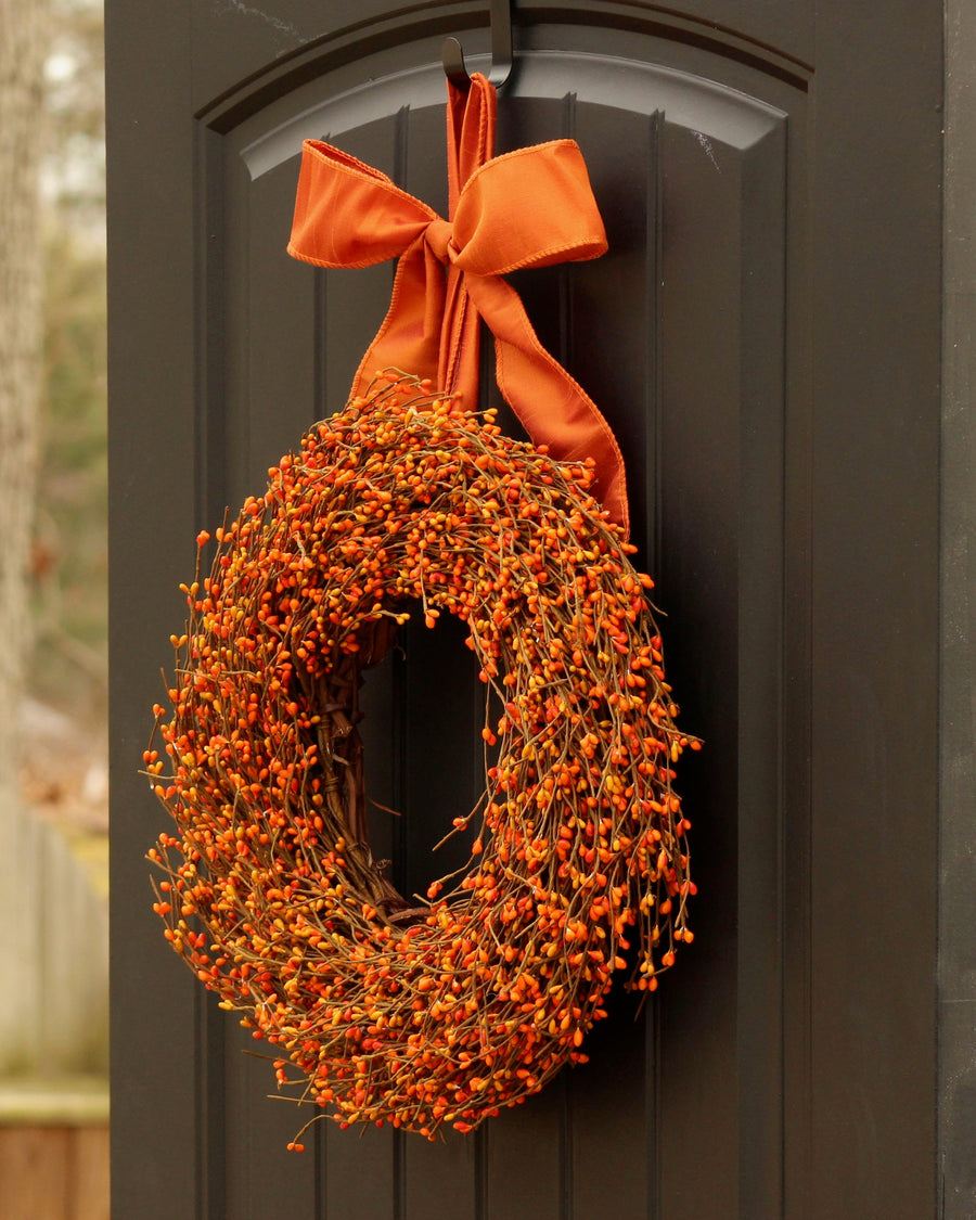 "Fall Wreath - Shades of Orange Berry Wreath - Autumn Door Decor - 10"" 12"" 14"" 16"" 18"" 20"" or 24"" Wreath"