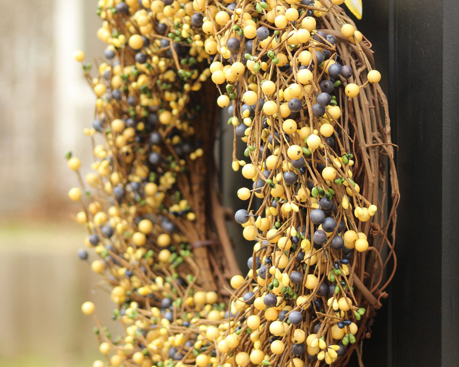 Yellow Blue & Green Berry Wreath