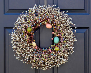 Easter Egg Wreath - Sprint Berry Wreath - Pastel Door Decor