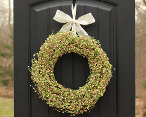 Green Pink & Cream Berry Wreath with Leaves