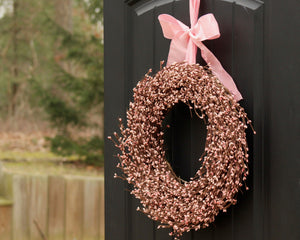 Pink Pip Berry Wreath