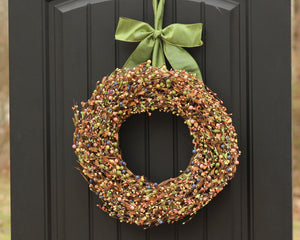 Green Pink Yellow Indigo Berry Wreath