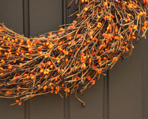 Black & Orange Berry Wreath - Halloween Door Decor - Fall Front Door Wreath