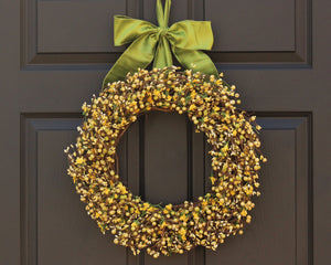 Light Yellow & Light Green Berry Wreath with Flowers