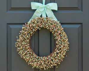 Aqua Yellow Pink Pip Berry Wreath