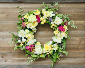Summer Garden Wreath - Floral Garden Wreath - Romantic Door Wreath