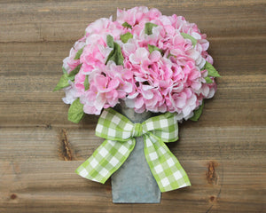 Hydrangea Floral Bucket - Spring Door Hanger - Flower Wreath
