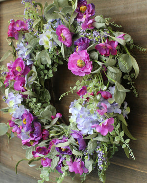 Purple Floral Eucalyptus Wreath - Green Purple Flower Wreath - Spring Wreath