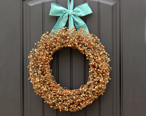 "Fall Wreath - Aqua Brown Orange Wreath - 10"" 12"" 14"" 16"" 18"" 20"" or 24"" Wreath"