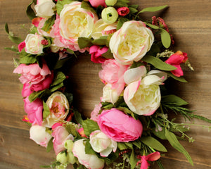Pink Floral Wreath - Summer Door Wreath - Spring Door Decor