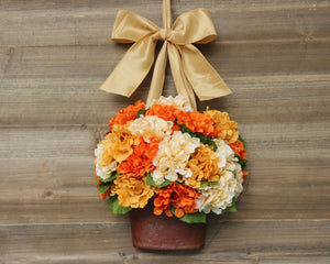 Hydrangea Wreath For Fall - Fall Flower Bucket - Autumn Floral Wreath Alternative