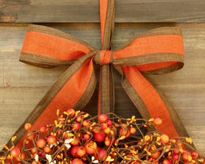 Fall Wreath - Pumpkin Wreath - Orange Yellow Cream Berry Door Wreath