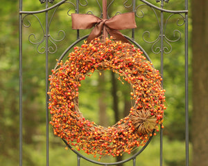 Orange Berry Wreath with Grapevine Pumpkin - Fall Wreath - Autumn Door Decor