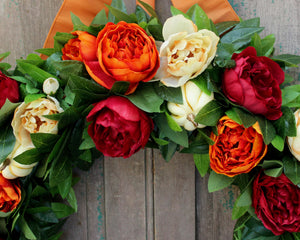 Large Laurel Peony Wreath - Red Orange Cream Flower Wreath - Fall through Winter Wreath