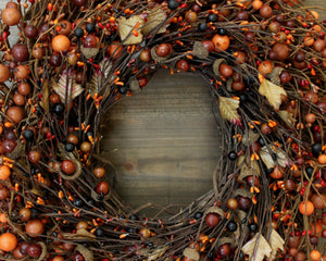 Fall Wreath - Orange Acorn Wreath - Autumn Door Decor - Choose Bow