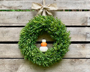 Fall Boxwood Wreath - Boxwood Pumpkin Wreath - Removable Pumpkins
