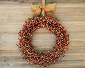 Fall Wreath - Berry Wreath with Bow - Orange Red Burgundy Green Door Decor