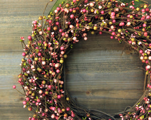 Green and Pink Wreath - Everyday Wreath - Spring Summer or Fall Wreath