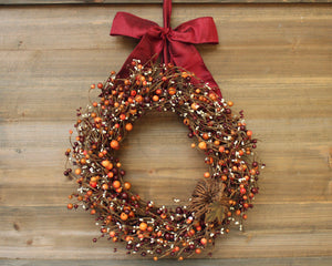 Fall Wreath with Grapevine Pumpkin - Burgundy Orange Cream Berry Wreath - Autumn Door Decor