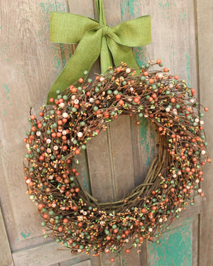 Spring to Fall Wreath with Bow - Everyday Wreath - Pink Green Brown Berry Wreath - Year Round Wreath