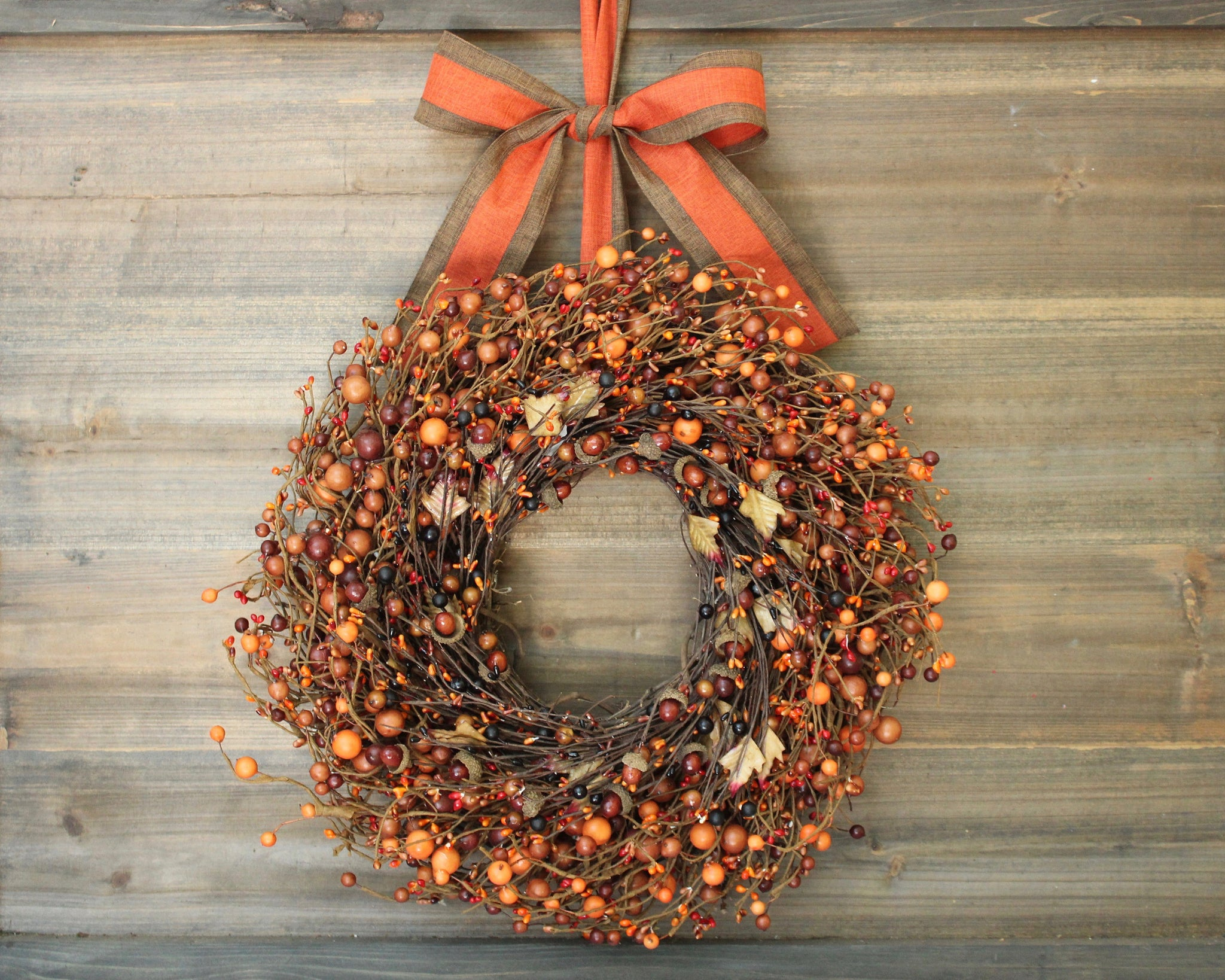 Fall Orange Berry Acorn Wreath With Bow Ever Blooming Originals