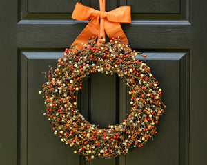 Fall Wreath with Bow - Halloween Wreath - Orange Grey Black Cream Berry Wreath
