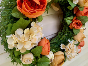 Fall Wreath - Orange Hydrangea Cabbage Rose Door Wreath with Bow