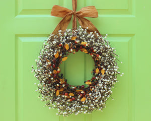 Fall Wreath - Candy Corn Wreath - Autumn Door Wreath - Halloween Berry Wreath