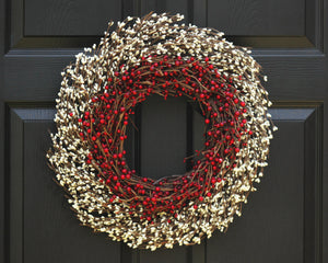 Holiday wreath, holiday decor, christmas wreath, gift for her, red and cream berry wreath, winter door decor