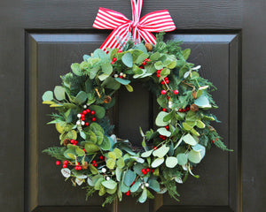Holiday wreath, Christmas wreath, holiday decor, pine eucalyptus wreath