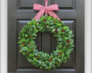 Holiday wreath, holiday decor, Christmas wreath, laurel wreath with red berries