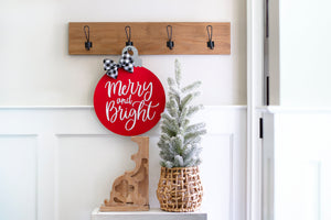 Holiday decor, gift for her, Christmas ornament door hanger, merry and bright holiday wreath, red wood round door hanger