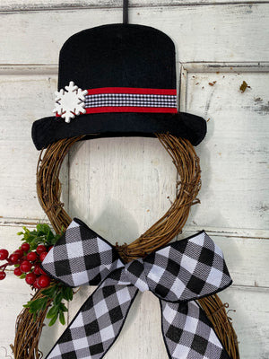 Snowman Wreath - Grapevine Snowman - Farmhouse Buffalo Check Wreath - Christmas Snowman Wreath