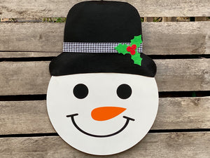 Holiday Decor, Holiday Wreath, Snowman Door Hanger, Christmas Door Decor