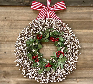 Holiday wreath, holiday decor, christmas wreath, white and green mistletoe berry wreath