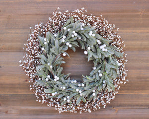 Holiday wreath, holiday decor, Christmas wreath, sparkling mistletoe greenery wreath, cream berry wreath