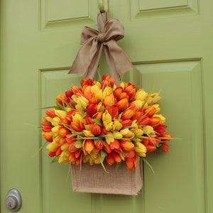 Burlap Tulip Wreath Alternative