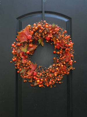 Autumn Berry Pumpkin Wreath - Fall Door Wreath - Pumpkin Door Wreath - Thanksgiving Wreath