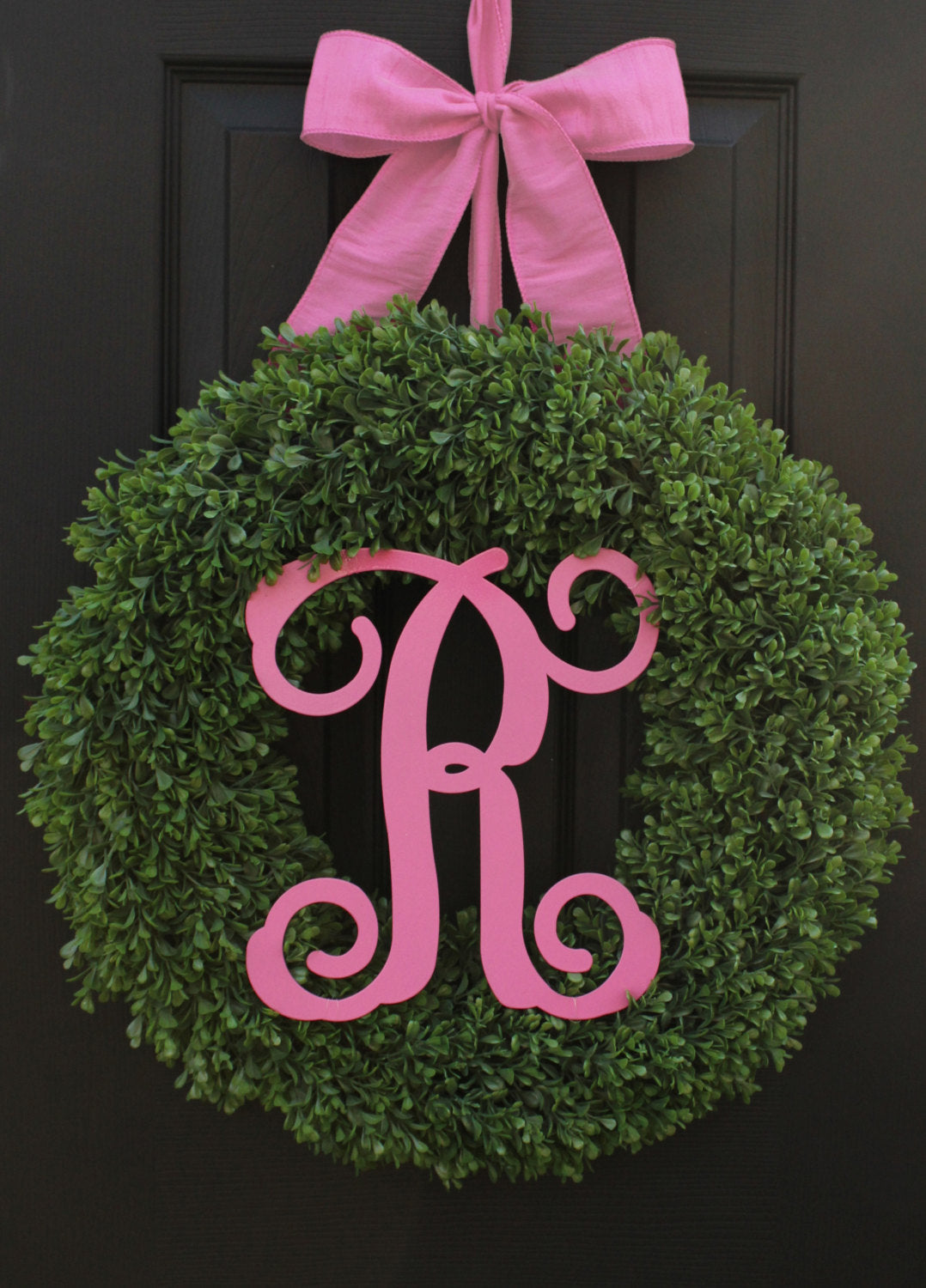 Monogram Wreath - Large Boxwood Wreath - 8 Color Choices -Year Round Wreath - Mother's Day Gift