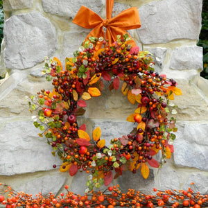 Fall Wreath - Outdoor Wreath - Door Wreath - Autumn Wreath - You Choose Bow - Ready To Ship