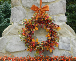 Fall Berry Wreath with Bow